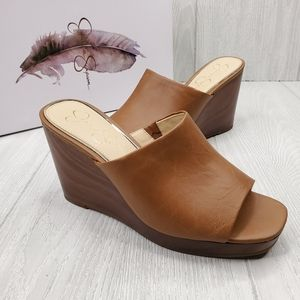 Jessica Simpson Sheyna Faux Leather Wedge Sandals